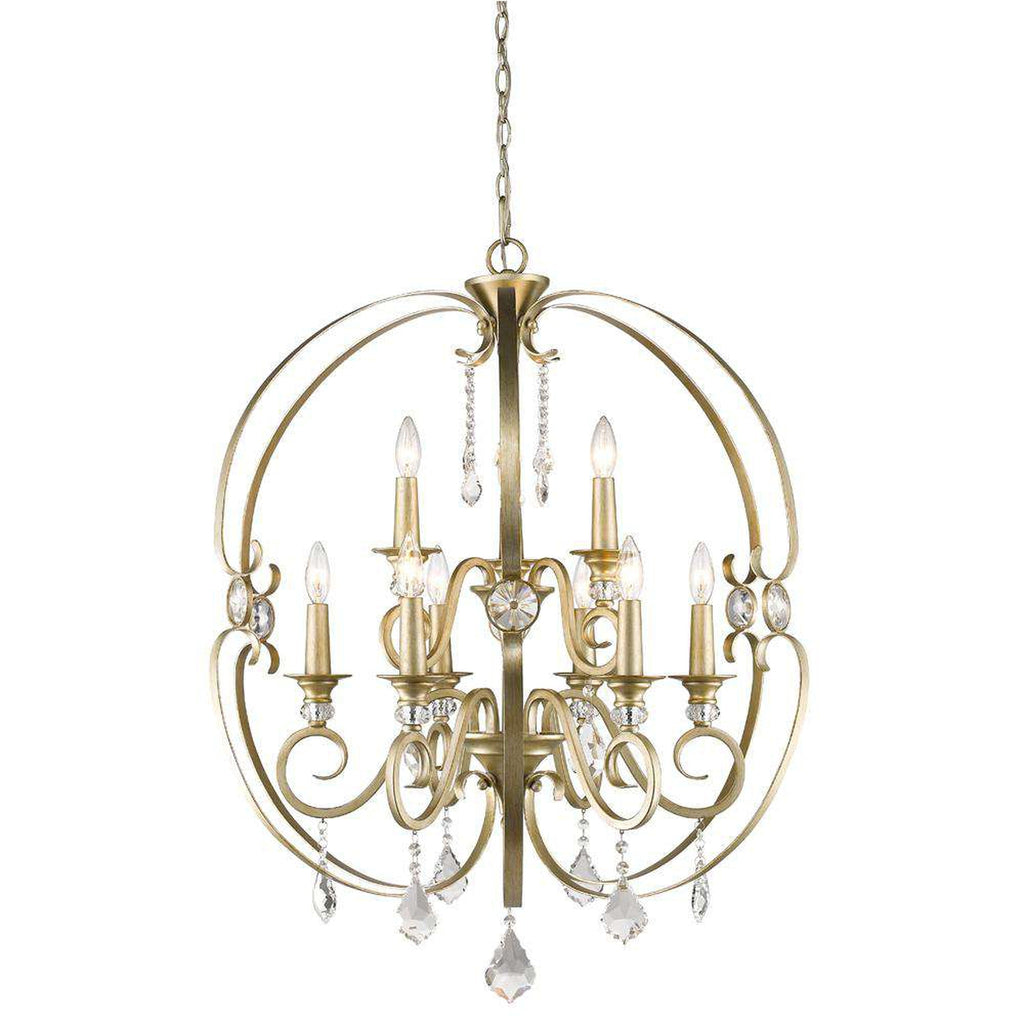 Ella 2 Tier - 9 Light Chandelier in White Gold