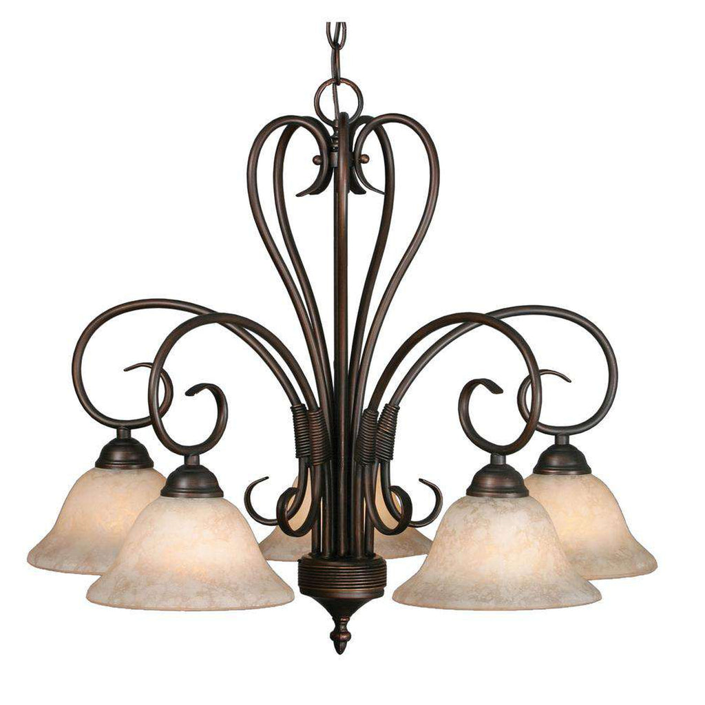 Homestead 5 Light Nook Chandelier in Rubbed Bronze with Tea Stone Glass