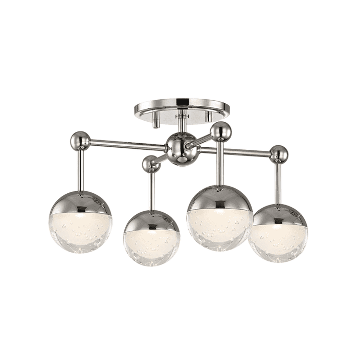 Boca 4 Light Led Flush Mount Polished Nickel