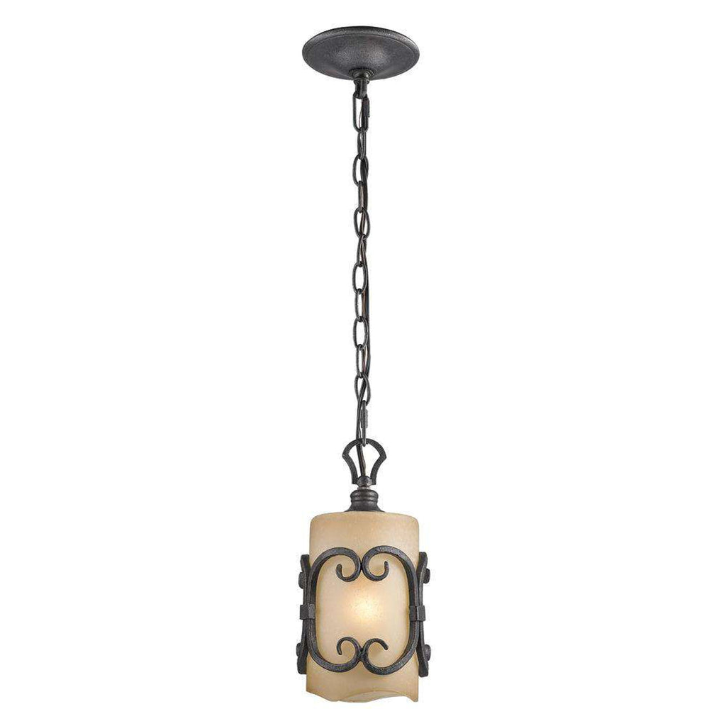 Madera Mini Pendant in Black Iron with Toscano Glass