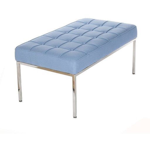 Mid-Century Modern Reproduction Mid Century Tufted Bench - Blue Wool Inspired by Florence Knoll