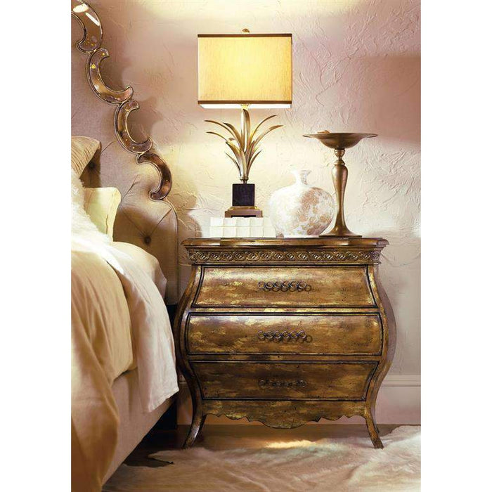 Sanctuary Small Three Drawer Bombe Nightstand-Bling