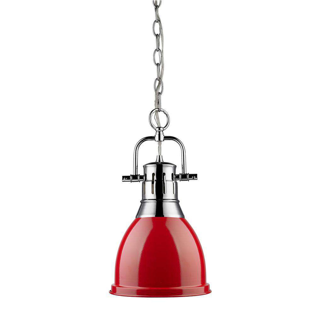 Duncan Small Pendant with Chain in Chrome with a Red Shade