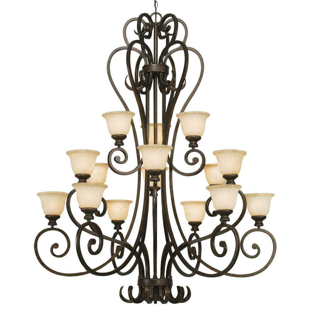 Heartwood 3 Tier - 15 Light Chandelier in Burnt Sienna with Tea Stone Glass