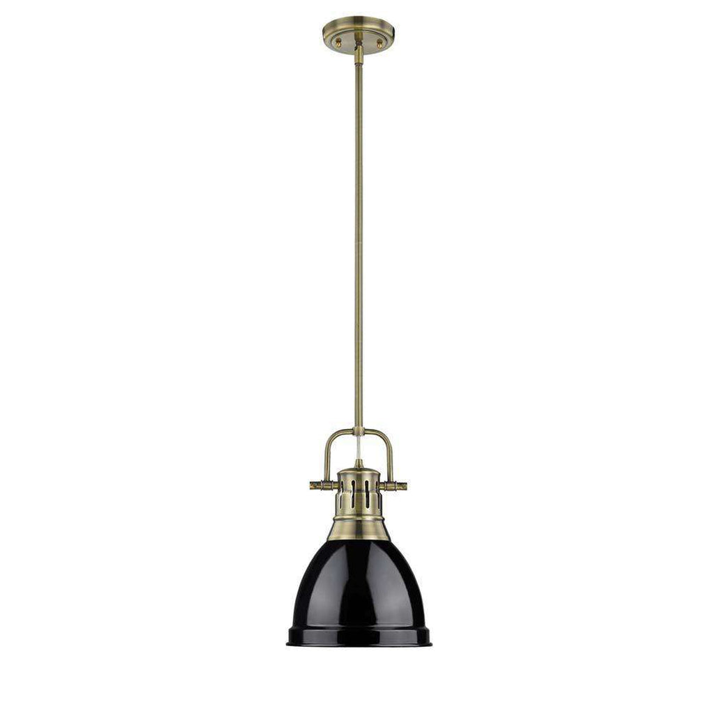Duncan Small Pendant with Rod in Aged Brass with a Black Shade