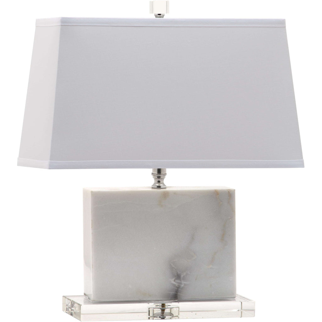 "19""H White Marble With Crystal Base Table Lamp"