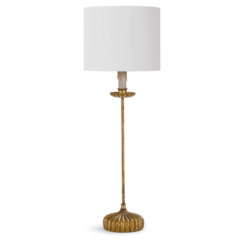 Clove Stem Buffet Table Lamp With Natural Linen Shade (AGL)
