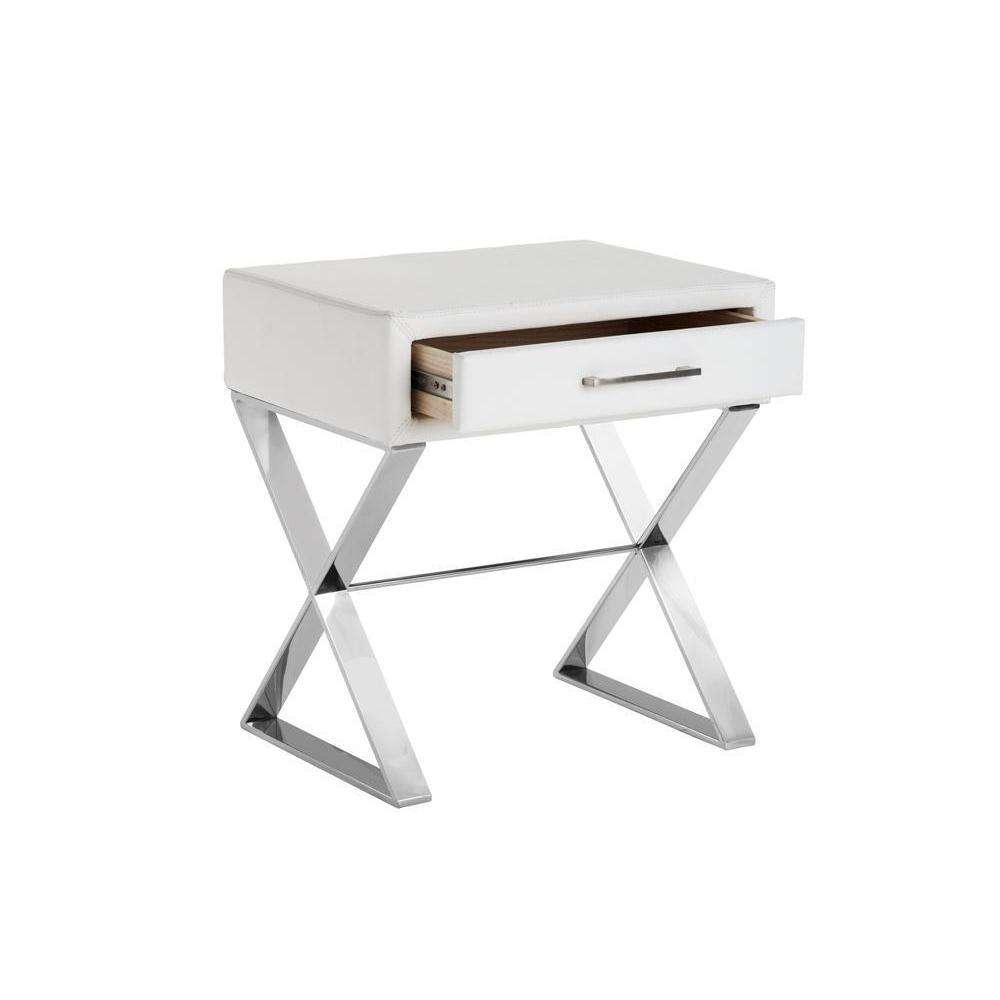 CASA END TABLE - WHITE LEATHER