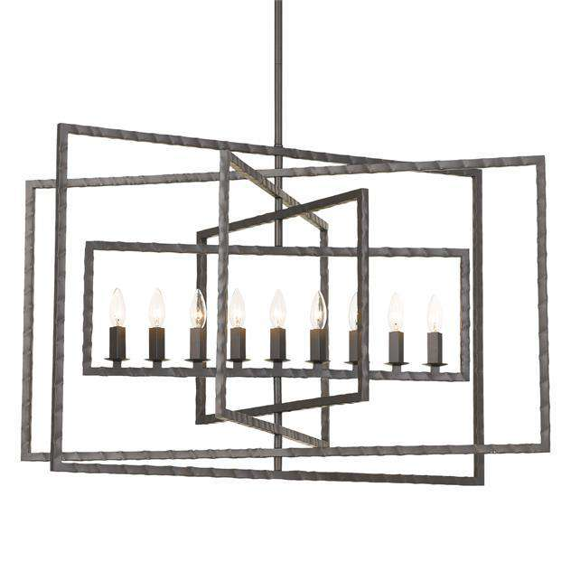 Capri 9 Light Raw Steel Chandelier