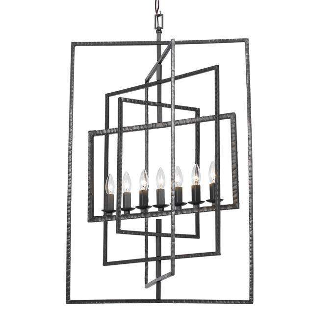 Capri 7 Light Raw Steel Chandelier