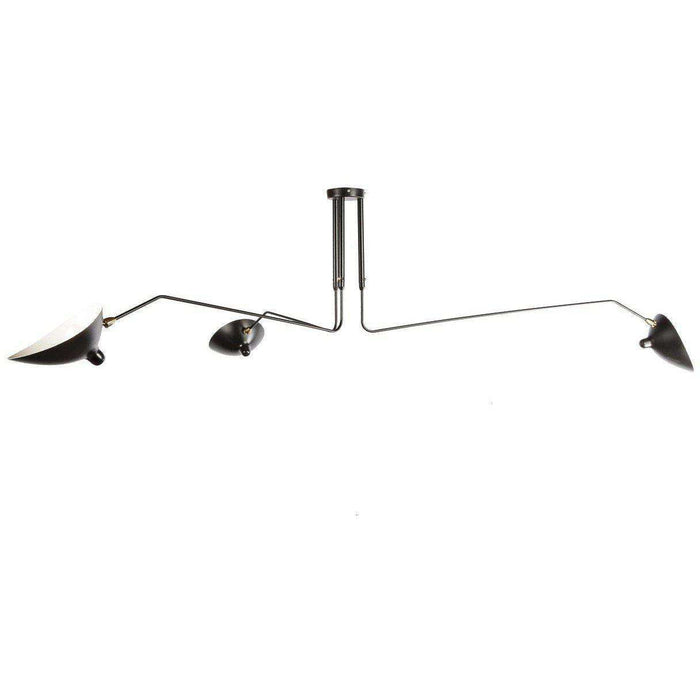 Mid-Century Modern Reproduction Three-Arm MCL-R3 Ceiling Lamp - Black Inspired by Serge Mouille