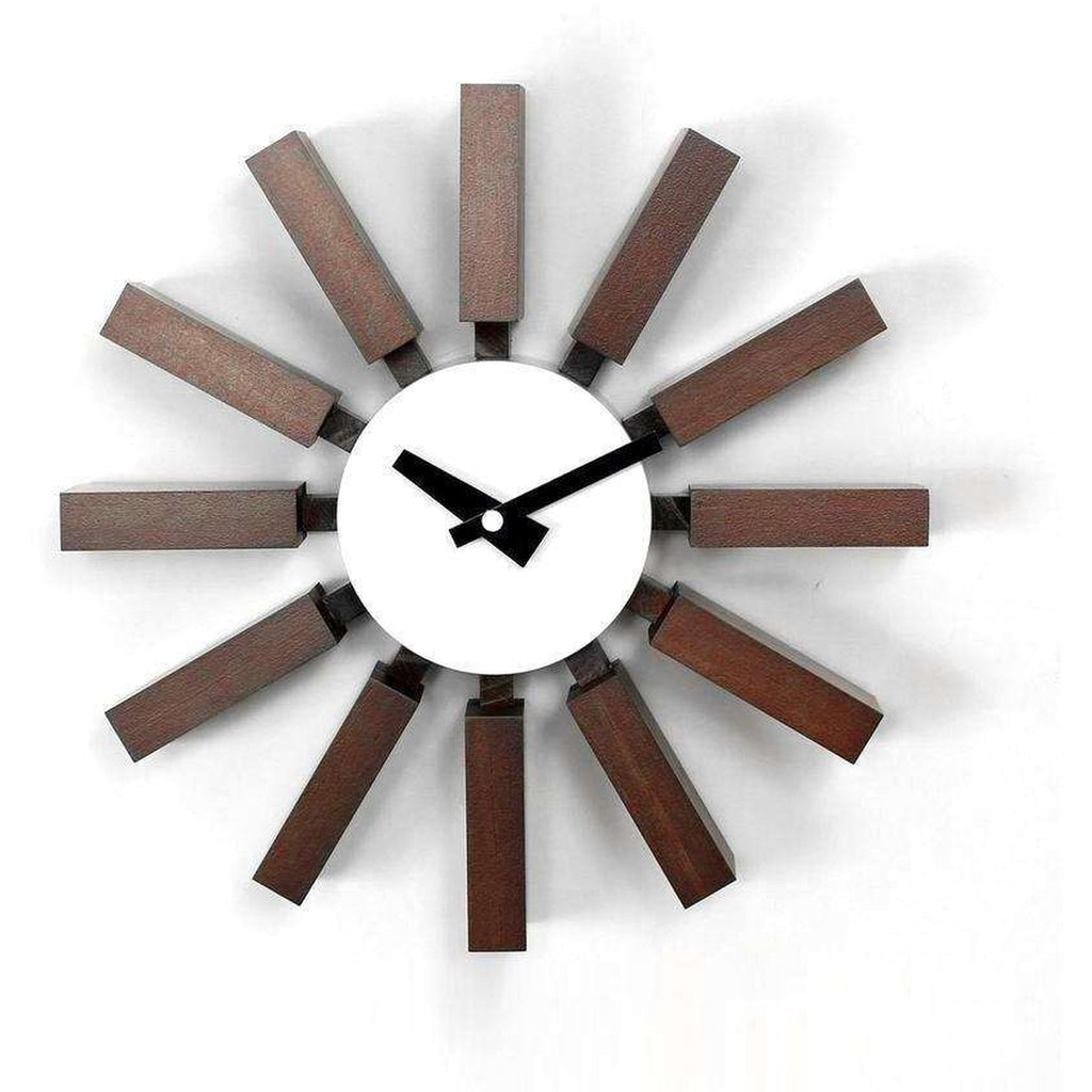Mid-Century Modern Reproduction Block Clock - Walnut Inspired by George Nelson