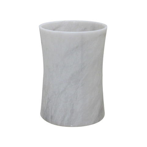 Vinca Collection Pearl White Marble Waste Bin