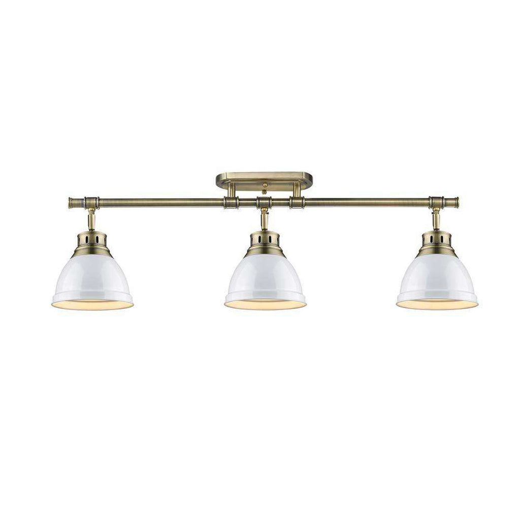 Duncan 3 Light Semi-Flush - Track Light in Aged Brass with White Shades