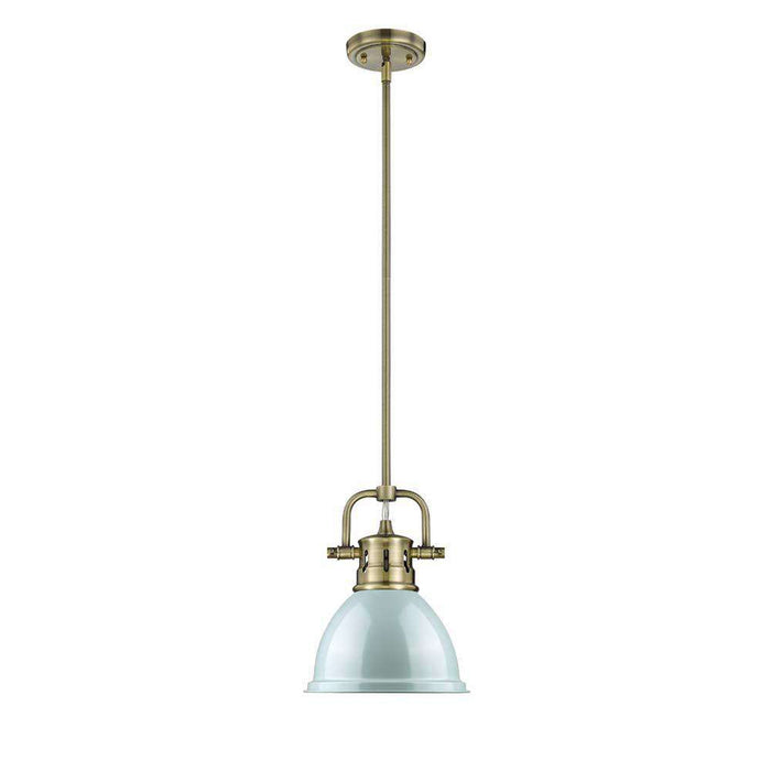 Duncan Mini Pendant with Rod in Aged Brass with a Seafoam Shade
