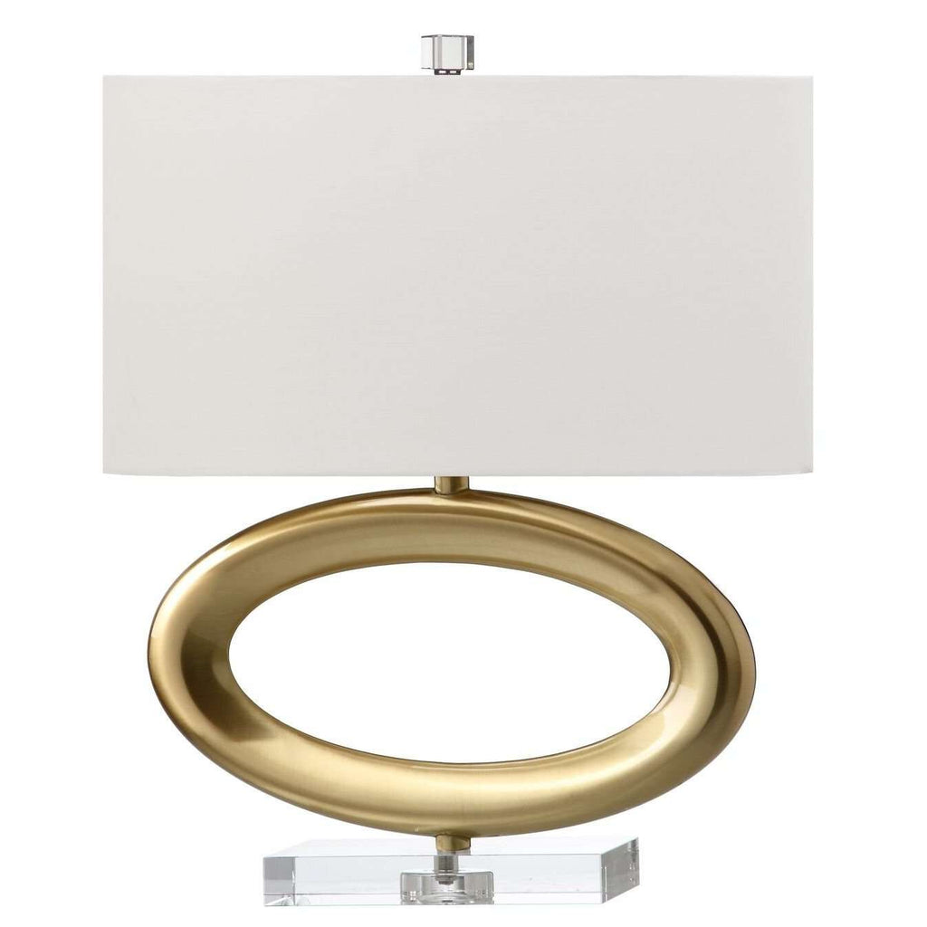 "18""H Horizontal Satin Brass Oval On Crystal Base Table Lamp"