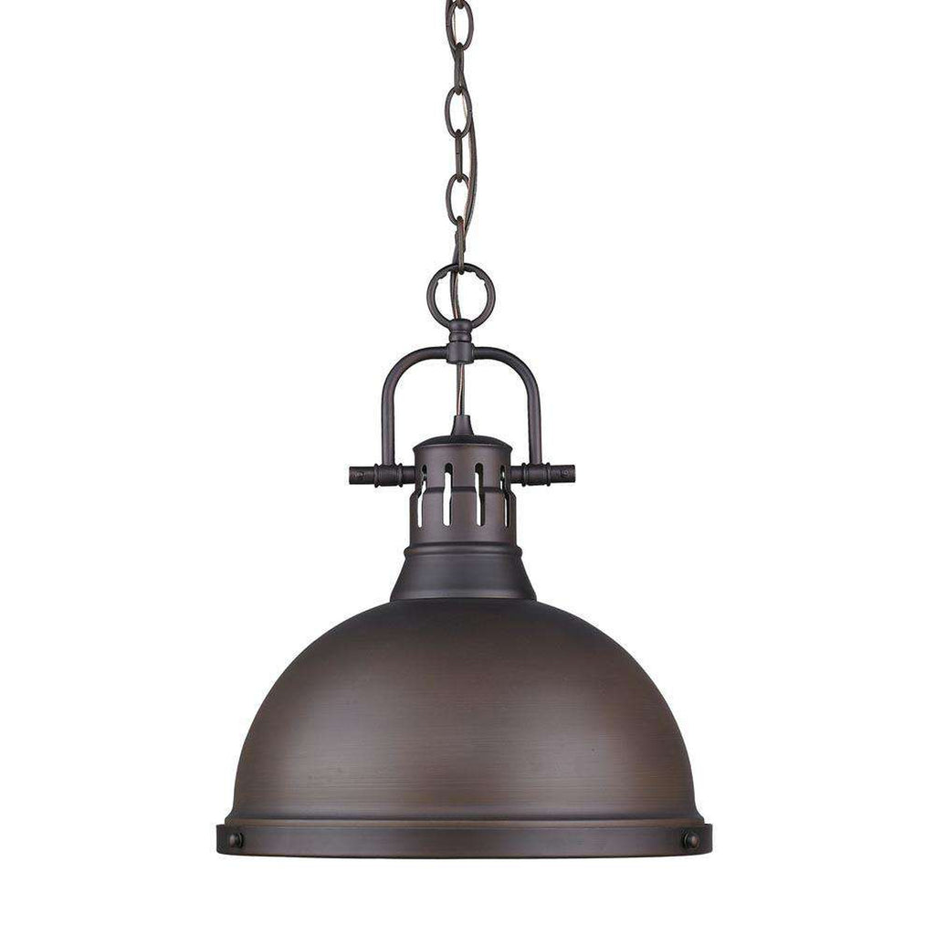 Duncan 1 Light Pendant with Chain in Rubbed Bronze with a Rubbed Bronze Shade