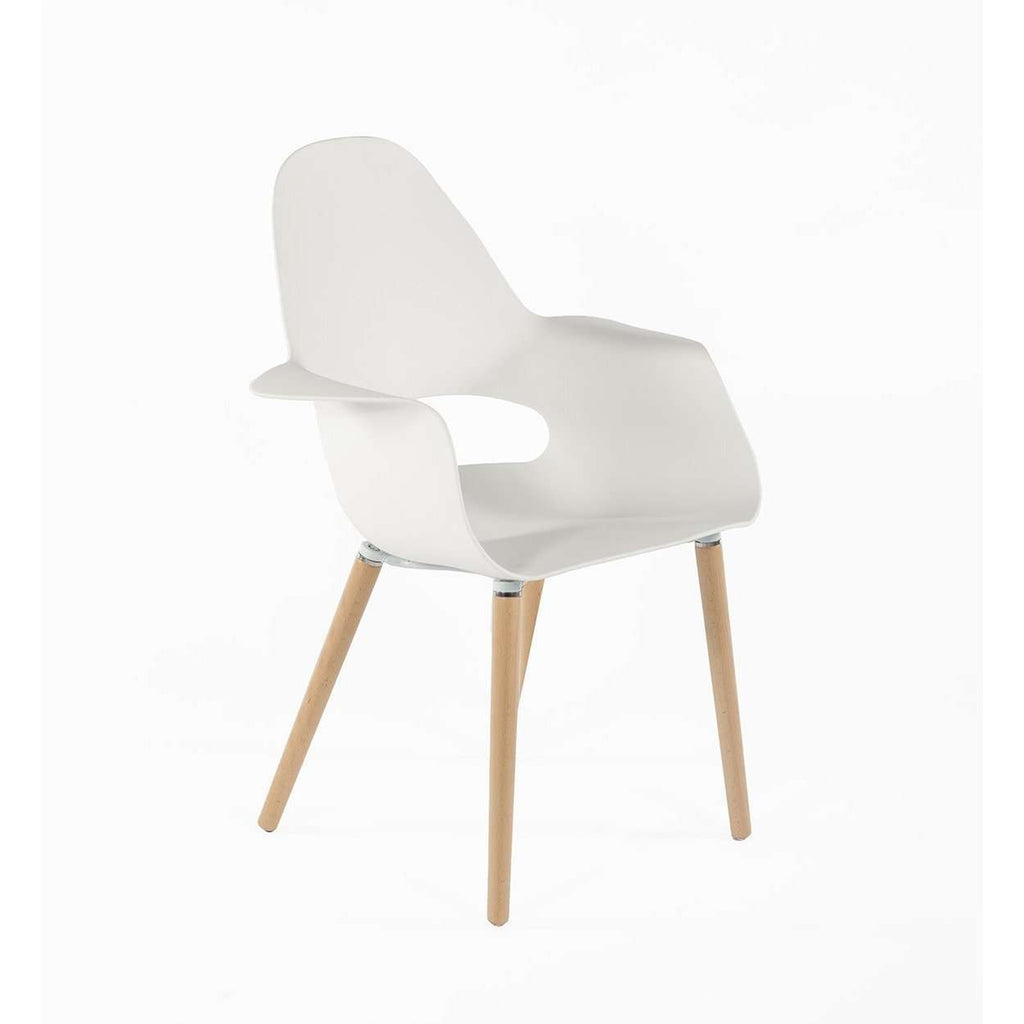 Modern Reproduction Organic Arm Chair - White Polypropylene Shell Inspired by Charles and Ray E. and Eero Saarinen