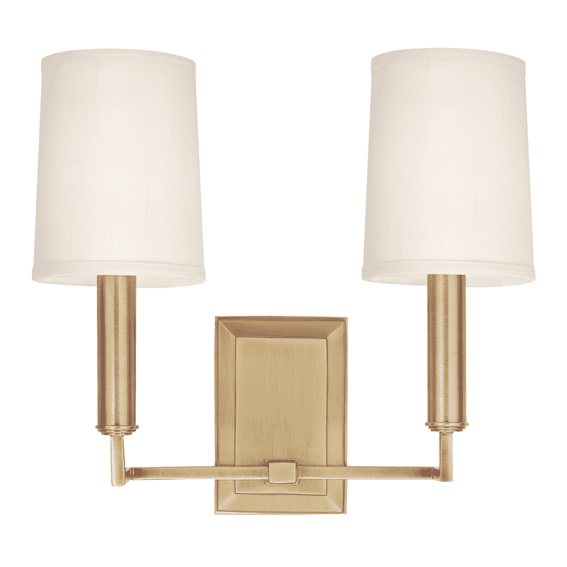 Clinton 2 Light Wall Sconce Aged Brass