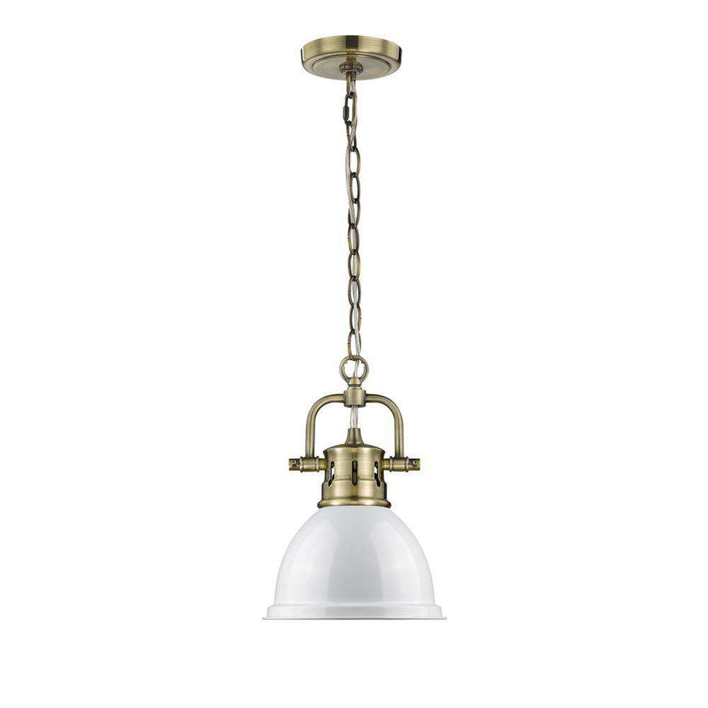 Duncan Mini Pendant with Chain in Aged Brass with a White Shade
