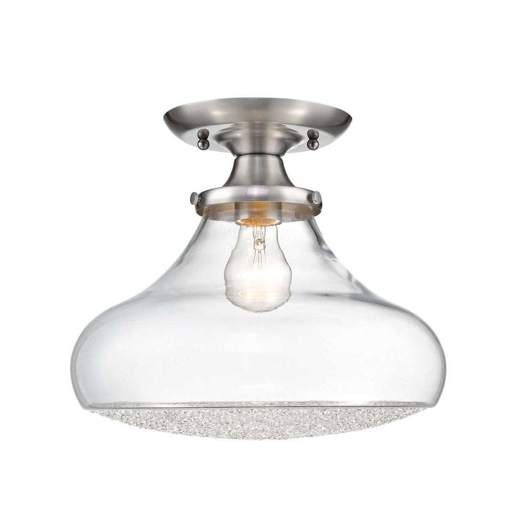 Asha Semi-Flush with Large Glass Pewter