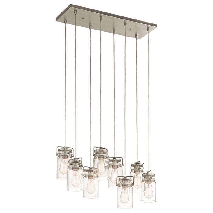 Brinley Linear Chandelier 8 Light - Brushed Nickel