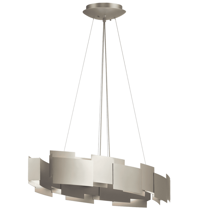 Moderne Oval Chandelier/Pendant LED - Satin Nickel