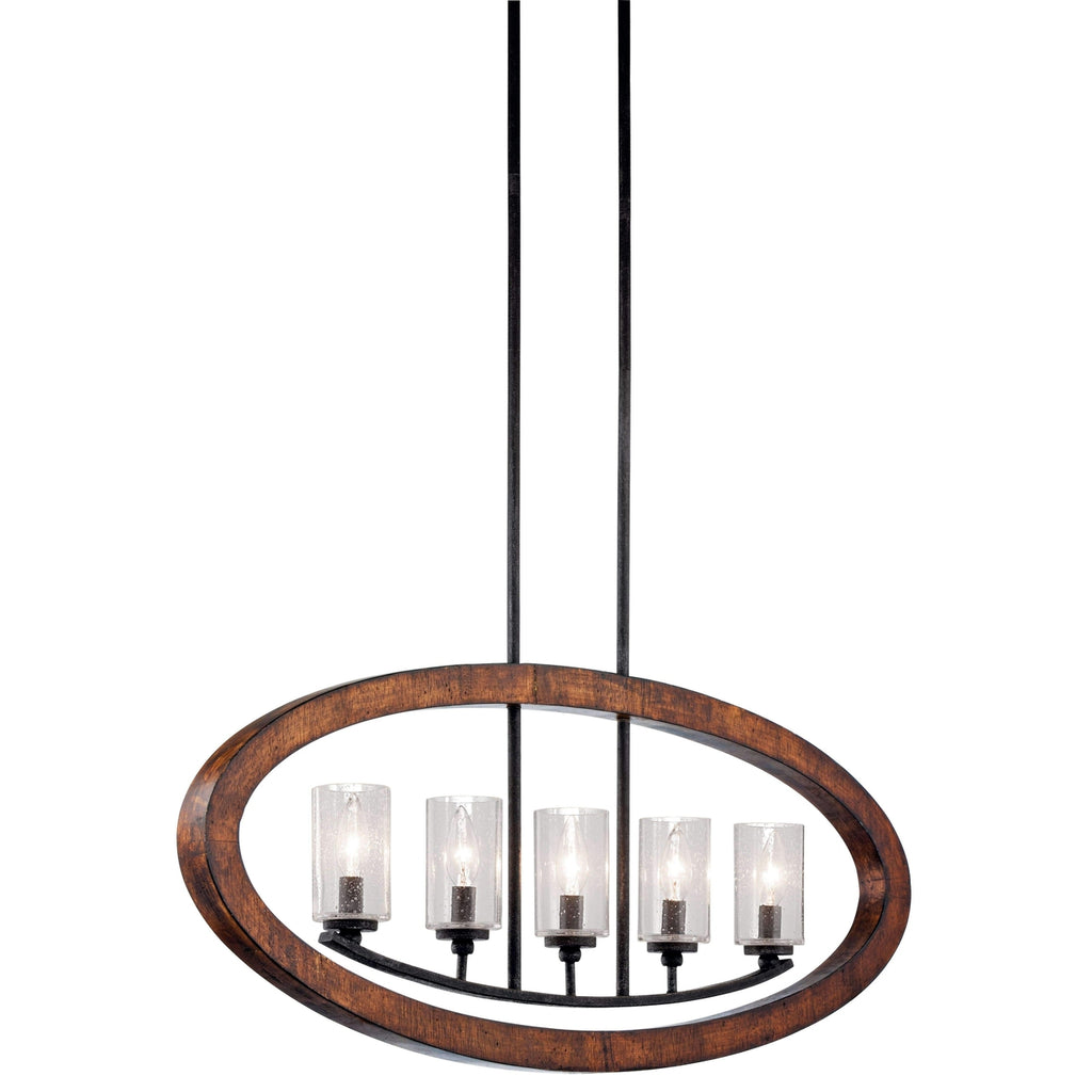 Grand Bank Linear Chandelier 5 Light - Auburn Stained Finish