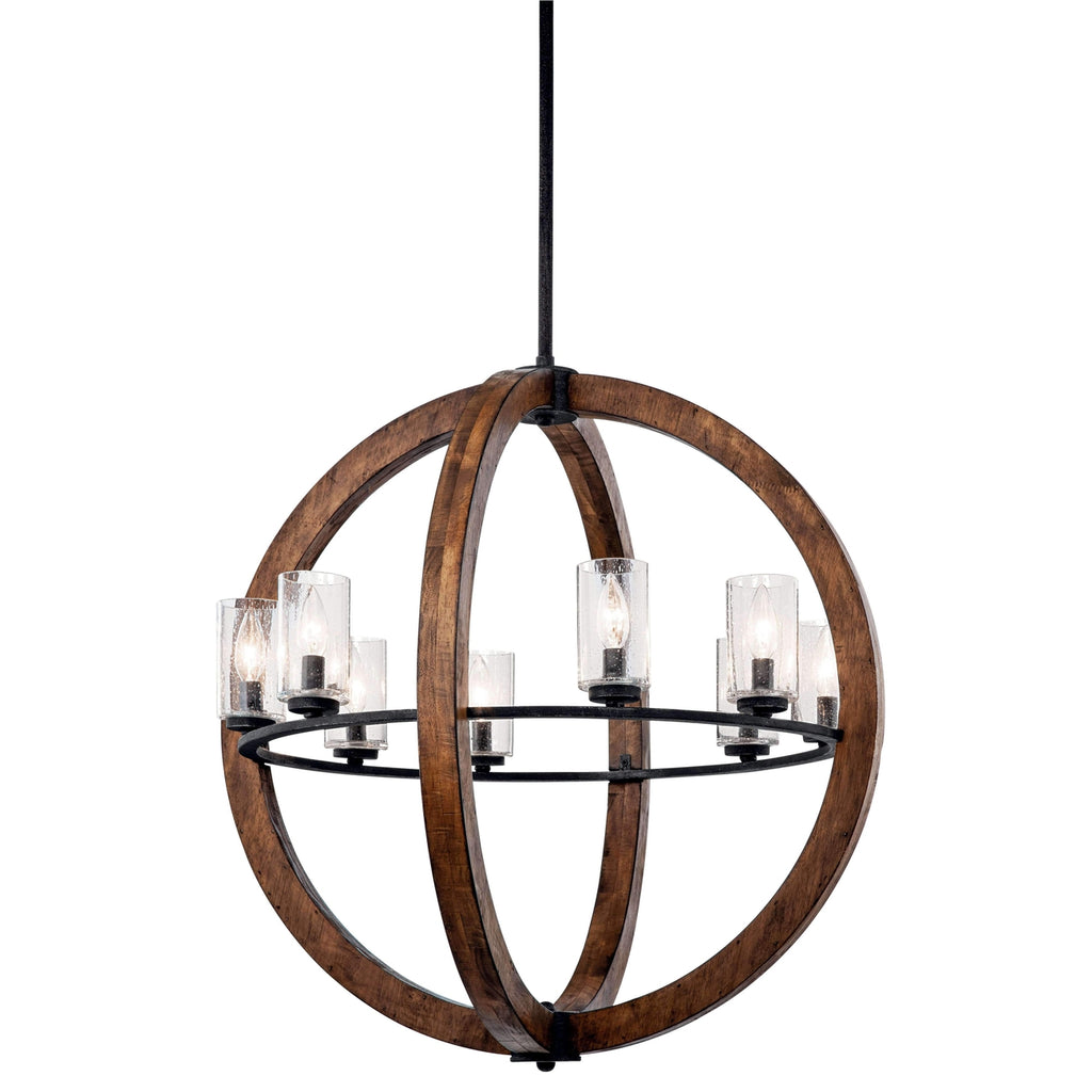 Grand Bank Chandelier 8 Light - Auburn Stained Finish