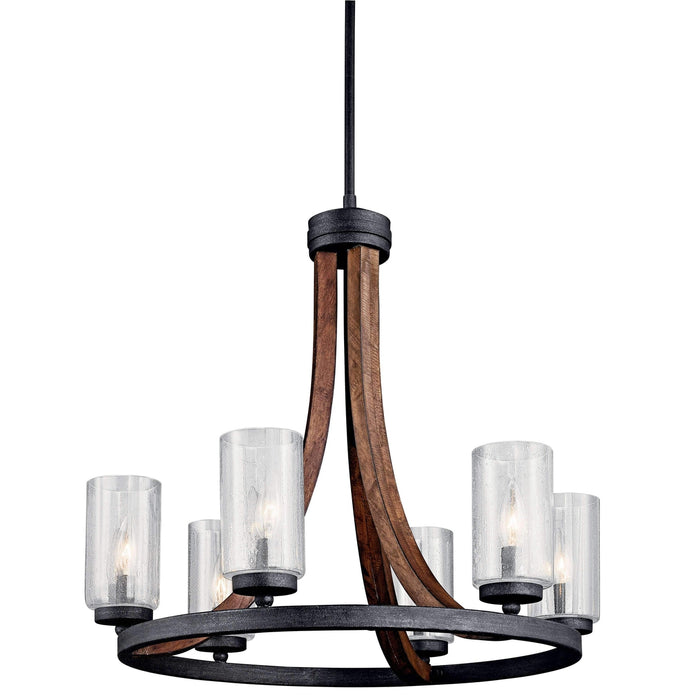 Grand Bank Chandelier 6 Light - Auburn Stained Finish