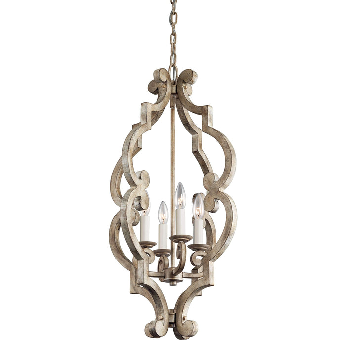 Hayman Bay Large Foyer Pendant 4 Light - Distressed Antique White