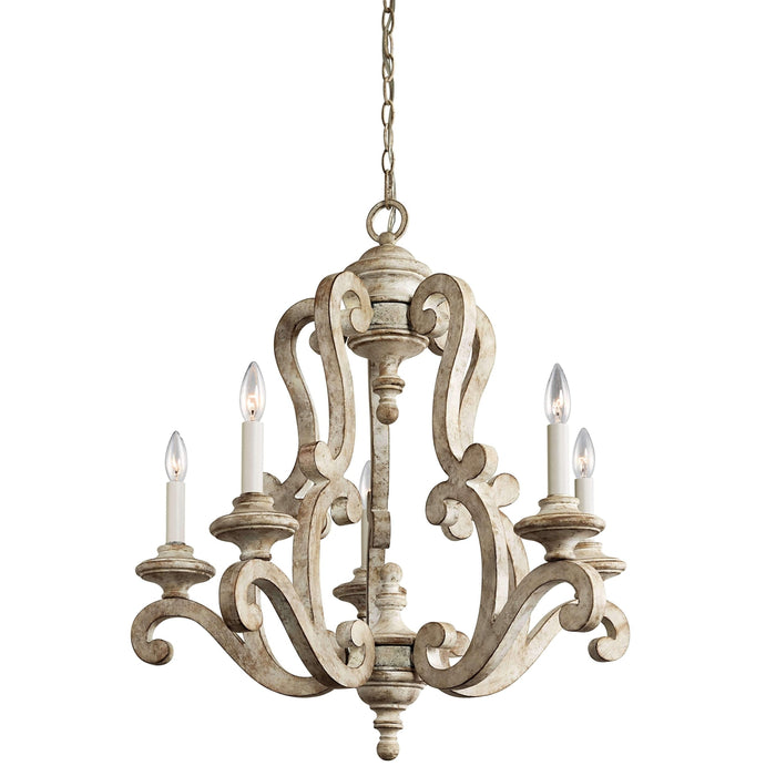 Hayman Bay Chandelier 5 Light - Distressed Antique White