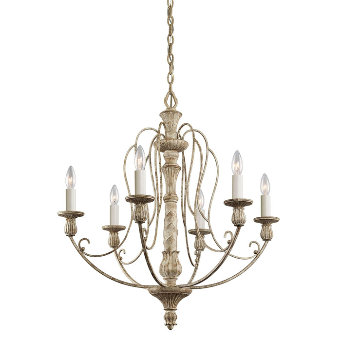 Hayman Bay Chandelier 6 Light - Distressed Antique White