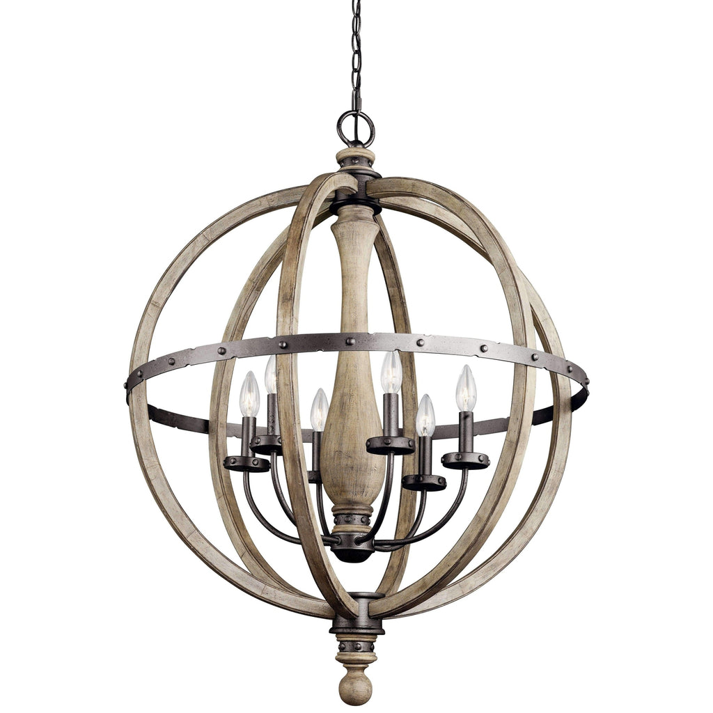 Evan Chandelier 6 Light - Distressed Antique Gray