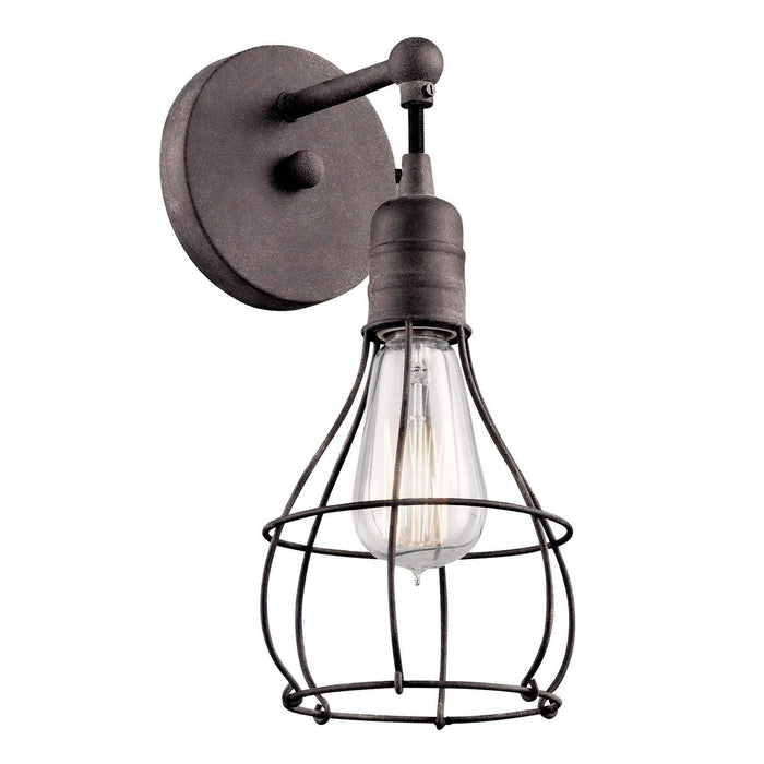 Industrial Cage Wall Sconce 1 Light - Weathered Zinc