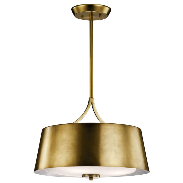 Maclain Pendant/Semi Flush 3 Light - Natural Brass