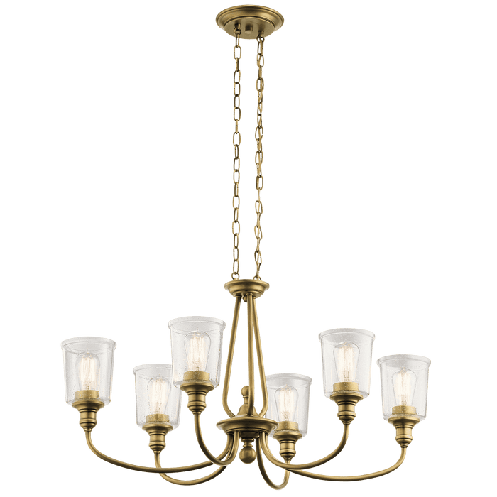 Waverly Oval Chandelier 6 Light - Natural Brass