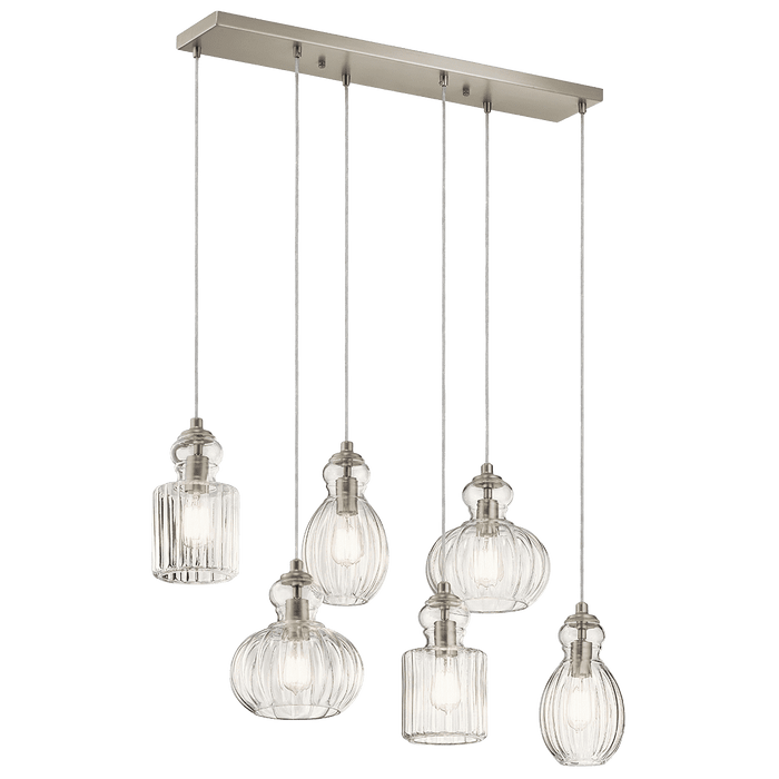 Riviera Linear Chandelier 6 Light - Brushed Nickel
