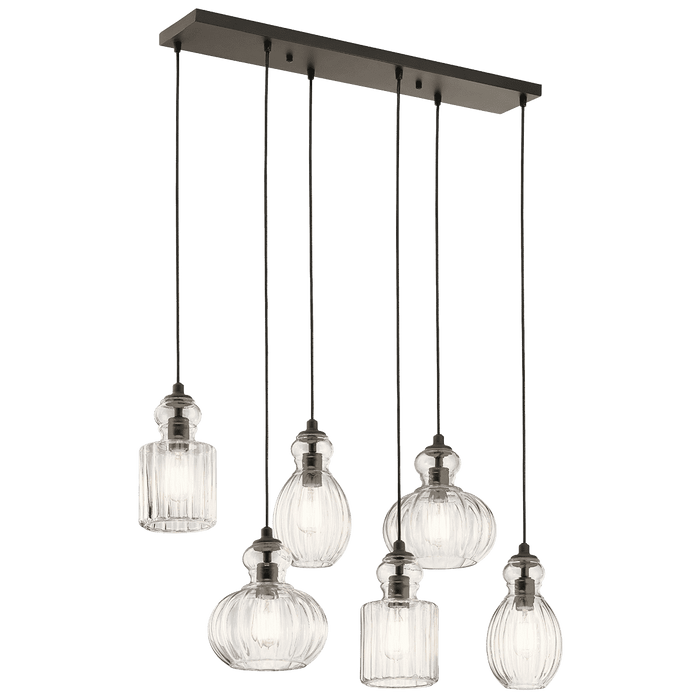 Riviera Linear Chandelier 6 Light - Olde Bronze