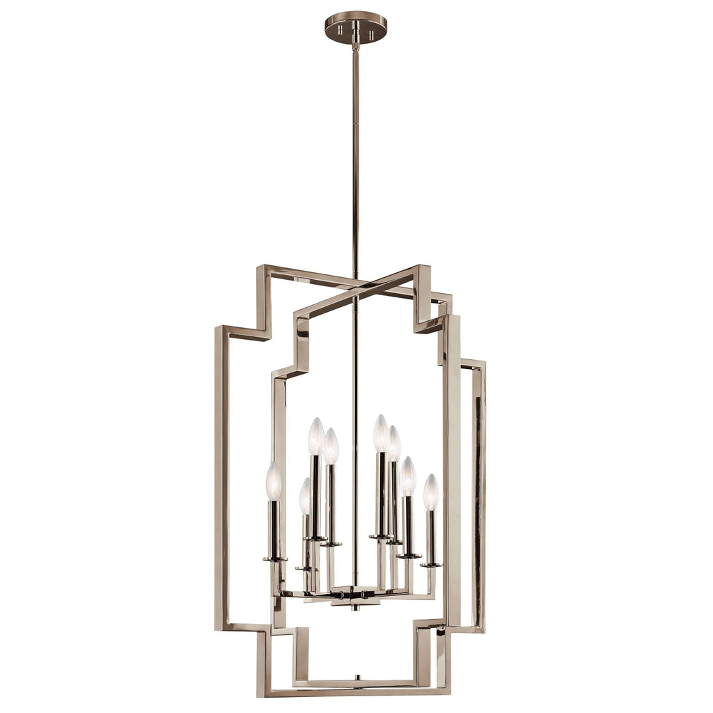 Downtown Deco Foyer Chandelier 8 Light - Polished Nickel