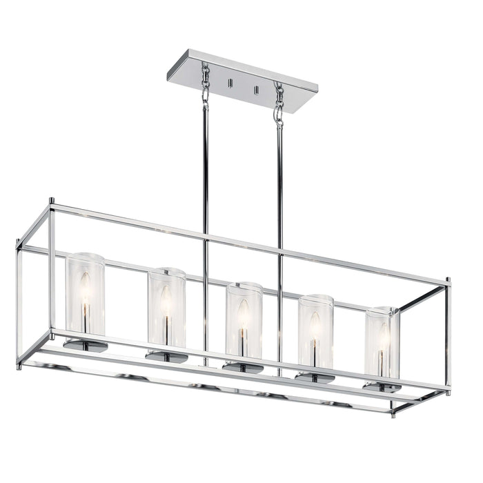 Crosby Linear Chandelier 5 Light - Chrome