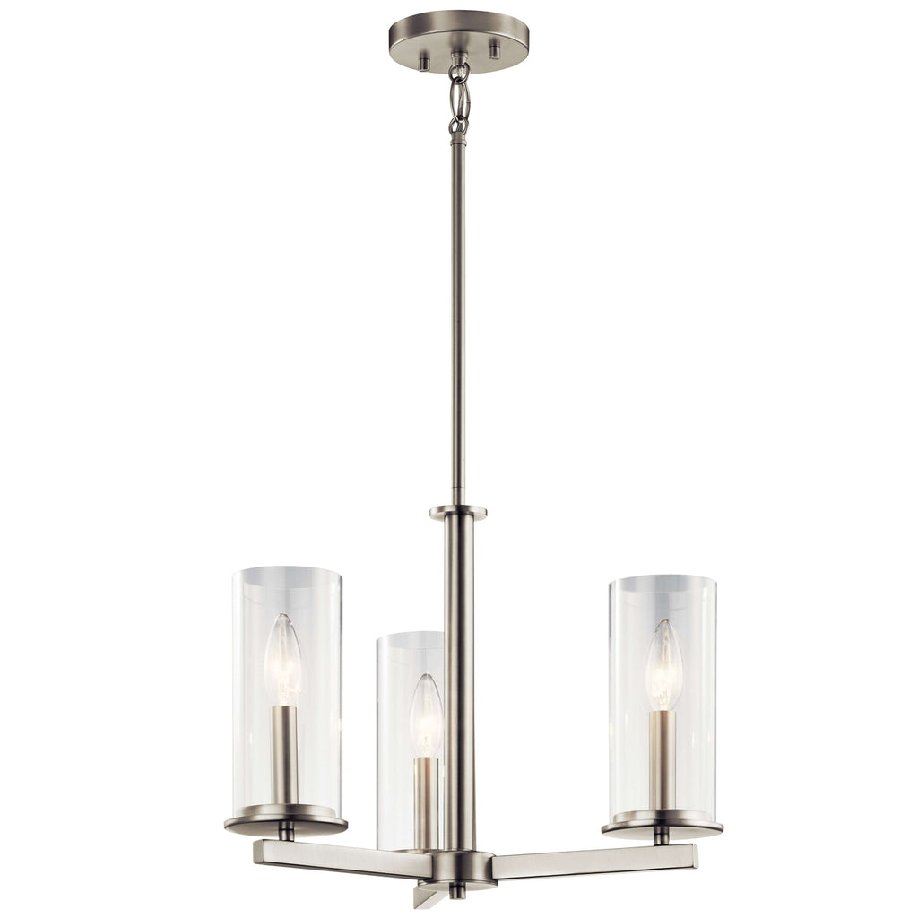 Crosby Chandelier/Semi Flush 3 Light - Brushed Nickel
