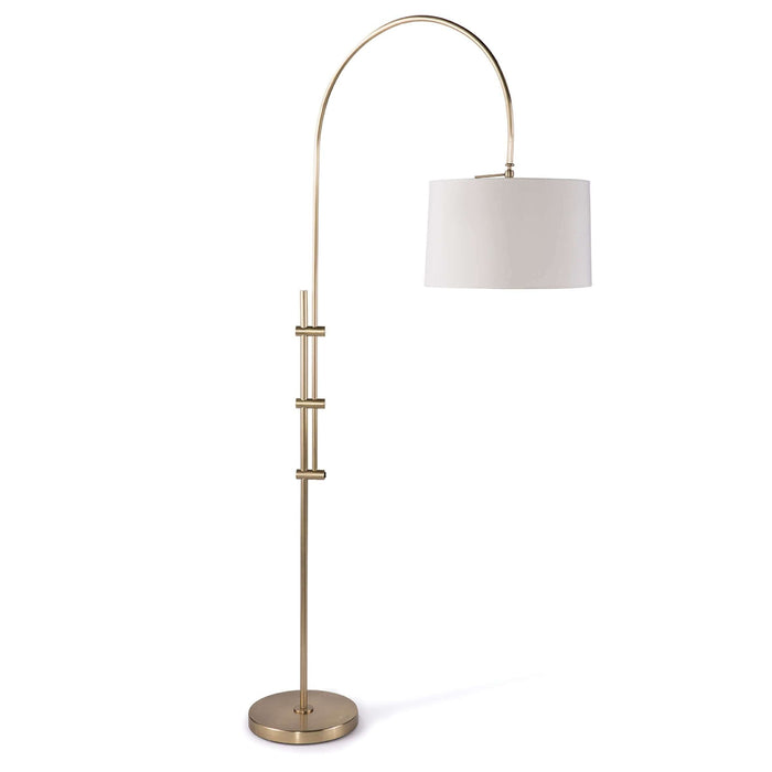 Arc Floor Lamp With Fabric Shade (Natural Brass)