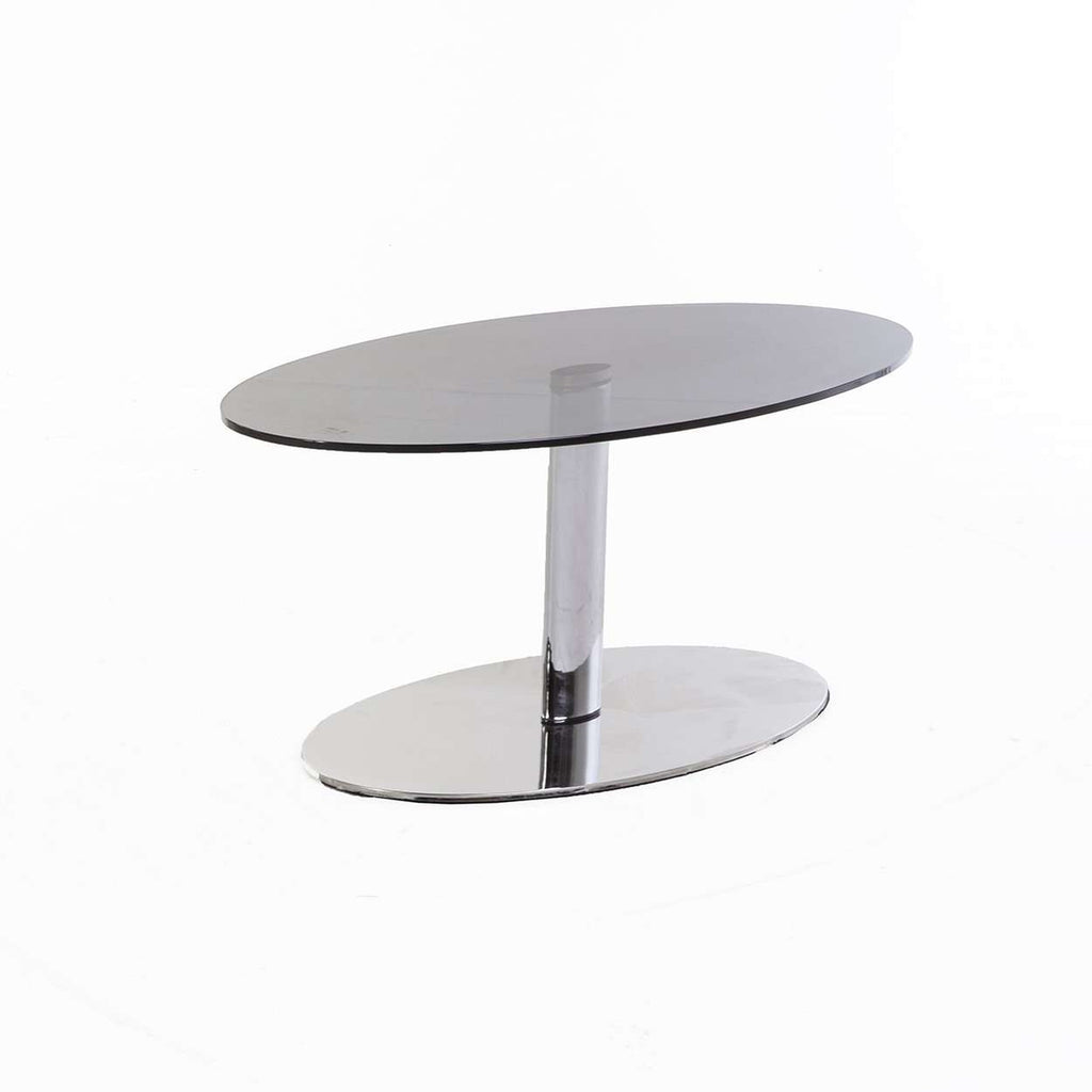 Modern Smokey Pad Oval Coffee Table