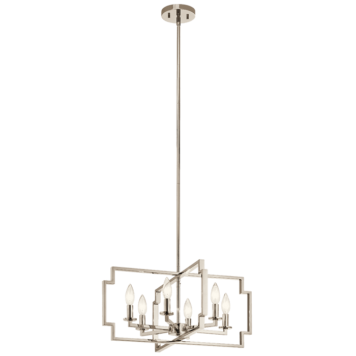 Downtown Deco Chandelier/Semi Flush 6 Light - Polished Nickel