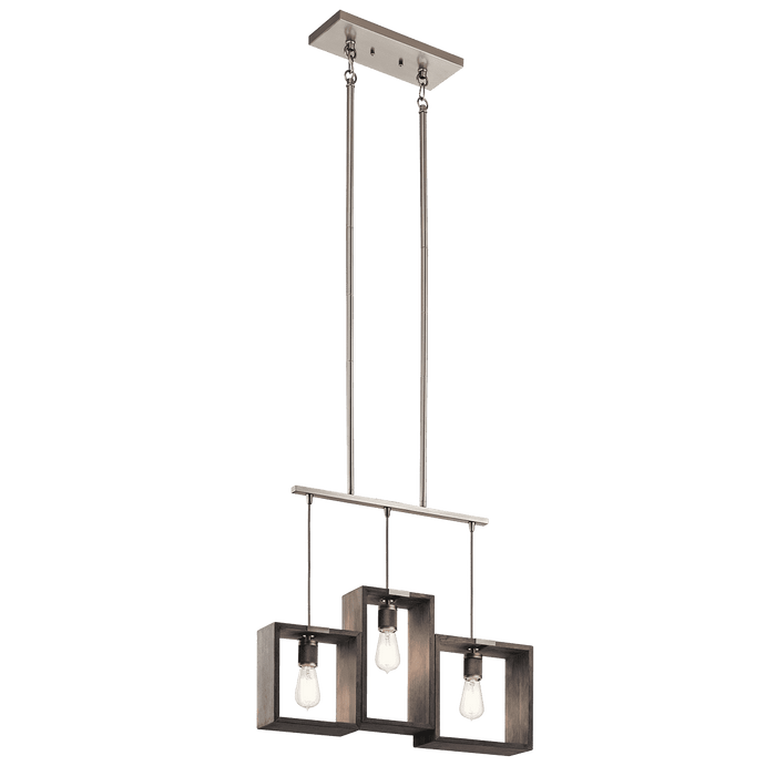 Industrial Frames Linear Chandelier 3 Light - Classic Pewter