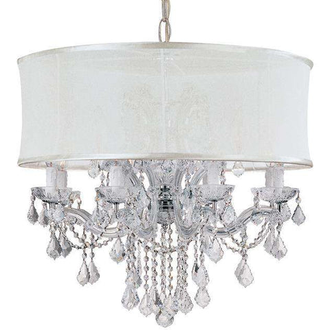 Brentwood 12 Light Smooth Shade Chrome Chandelier - Swarovski Strass