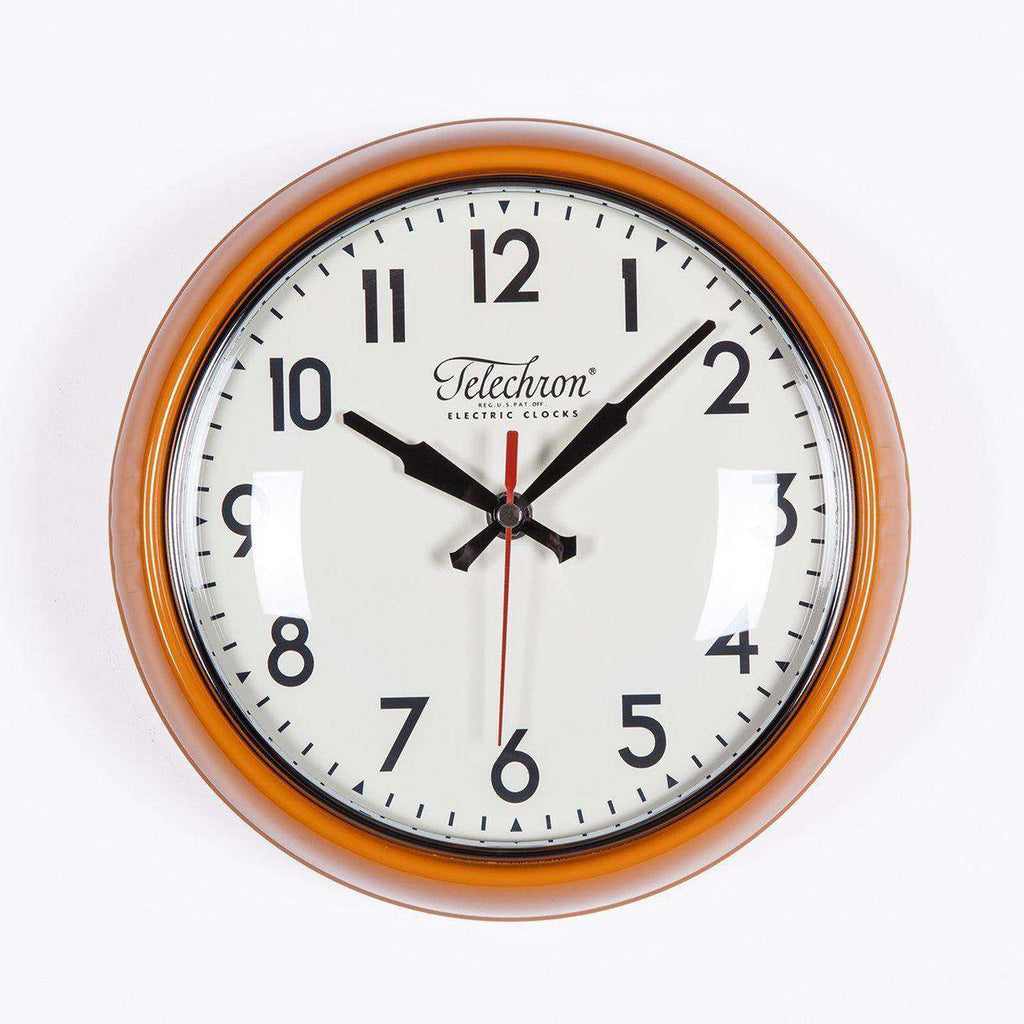 Mid Century Modern Cambridge Wall Clock - Orange