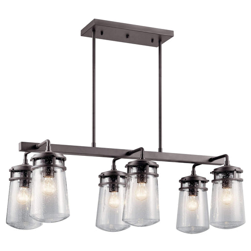 Lyndon Outdoor Linear Chandelier 6 Light - Architectural Bronze