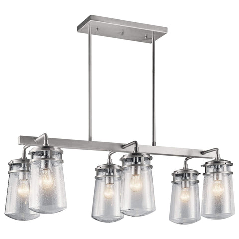Lyndon Outdoor Linear Chandelier 6 Light - Brushed Aluminum